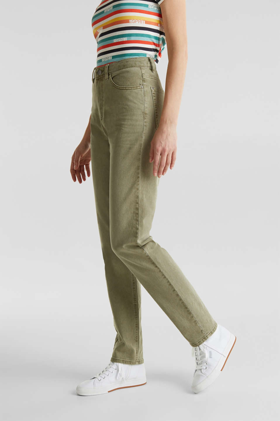 Stretch trousers with a fashionable fit, KHAKI GREEN, detail image number 6