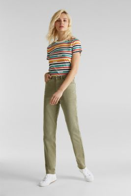 Stretch trousers with a fashionable fit, KHAKI GREEN, detail