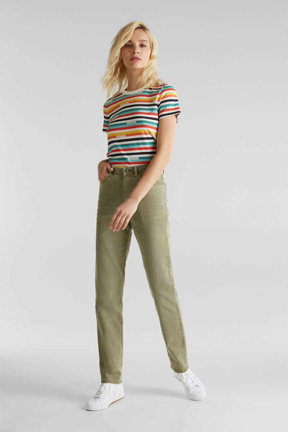 Stretch trousers with a fashionable fit, KHAKI GREEN, detail image number 1