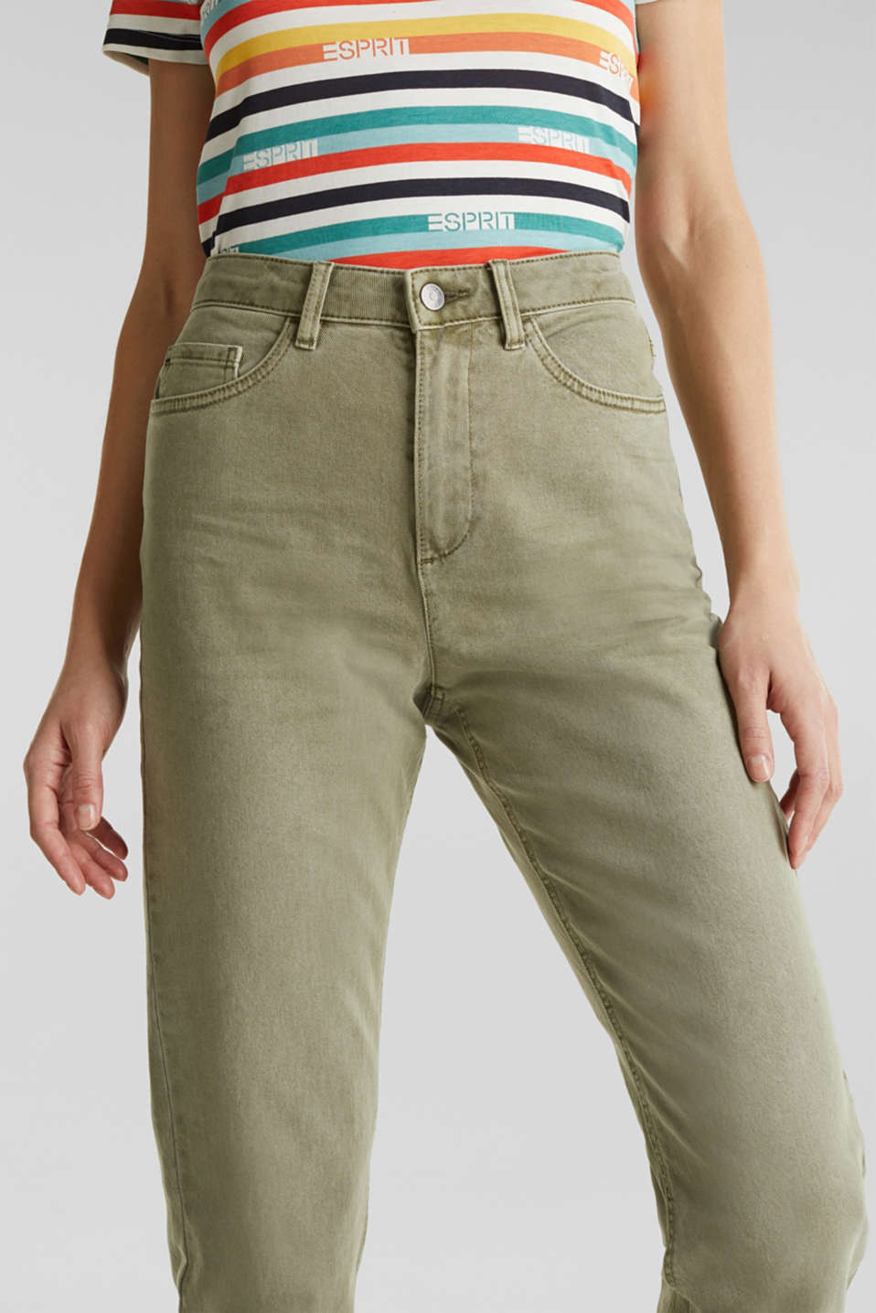 Stretch trousers with a fashionable fit, KHAKI GREEN, detail image number 2