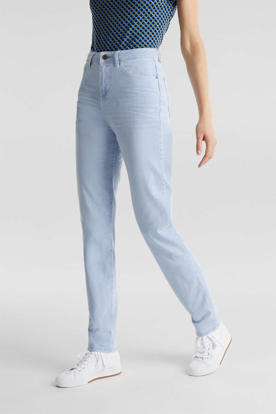 Stretch trousers with a fashionable fit, LIGHT BLUE, detail image number 6