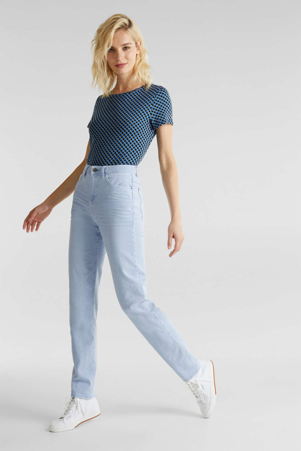 Stretch trousers with a fashionable fit, LIGHT BLUE, detail image number 1