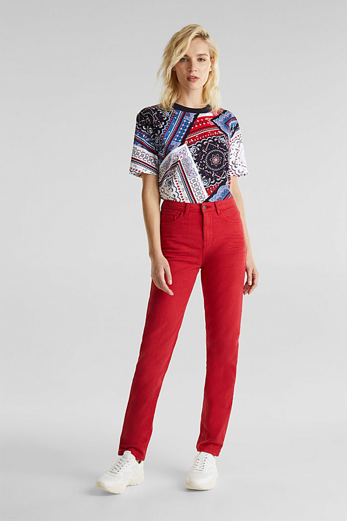 Stretch trousers with a fashionable fit, DARK RED, detail image number 0