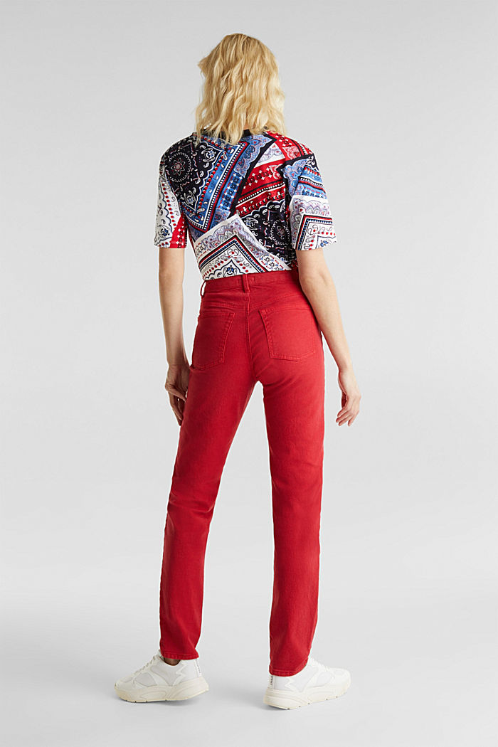 Stretch trousers with a fashionable fit, DARK RED, detail image number 3