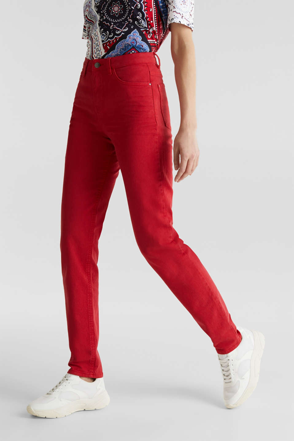 Stretch trousers with a fashionable fit, DARK RED, detail image number 6