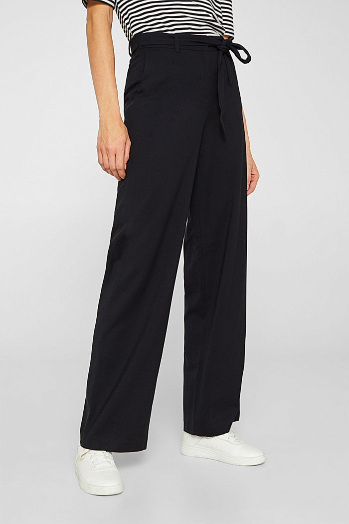 Wide-leg flannel trousers, BLACK, detail image number 0