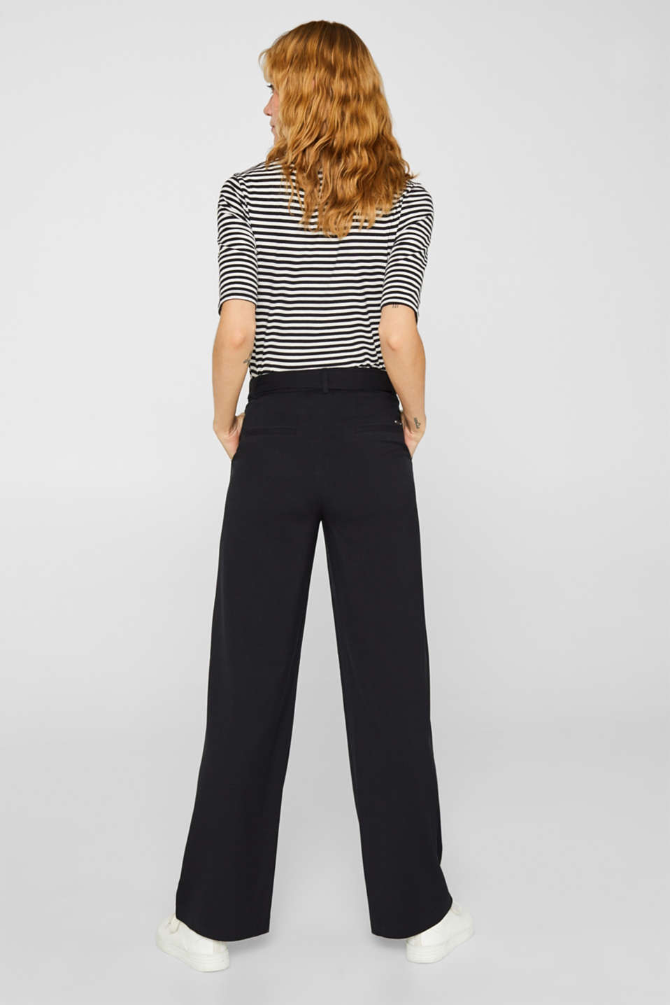 Wide-leg flannel trousers, BLACK, detail image number 3