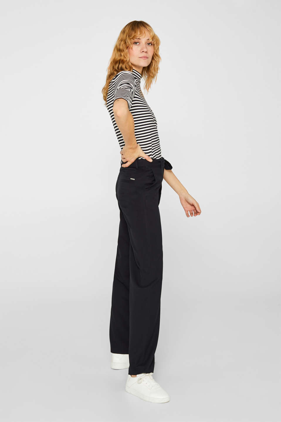 Wide-leg flannel trousers, BLACK, detail image number 5