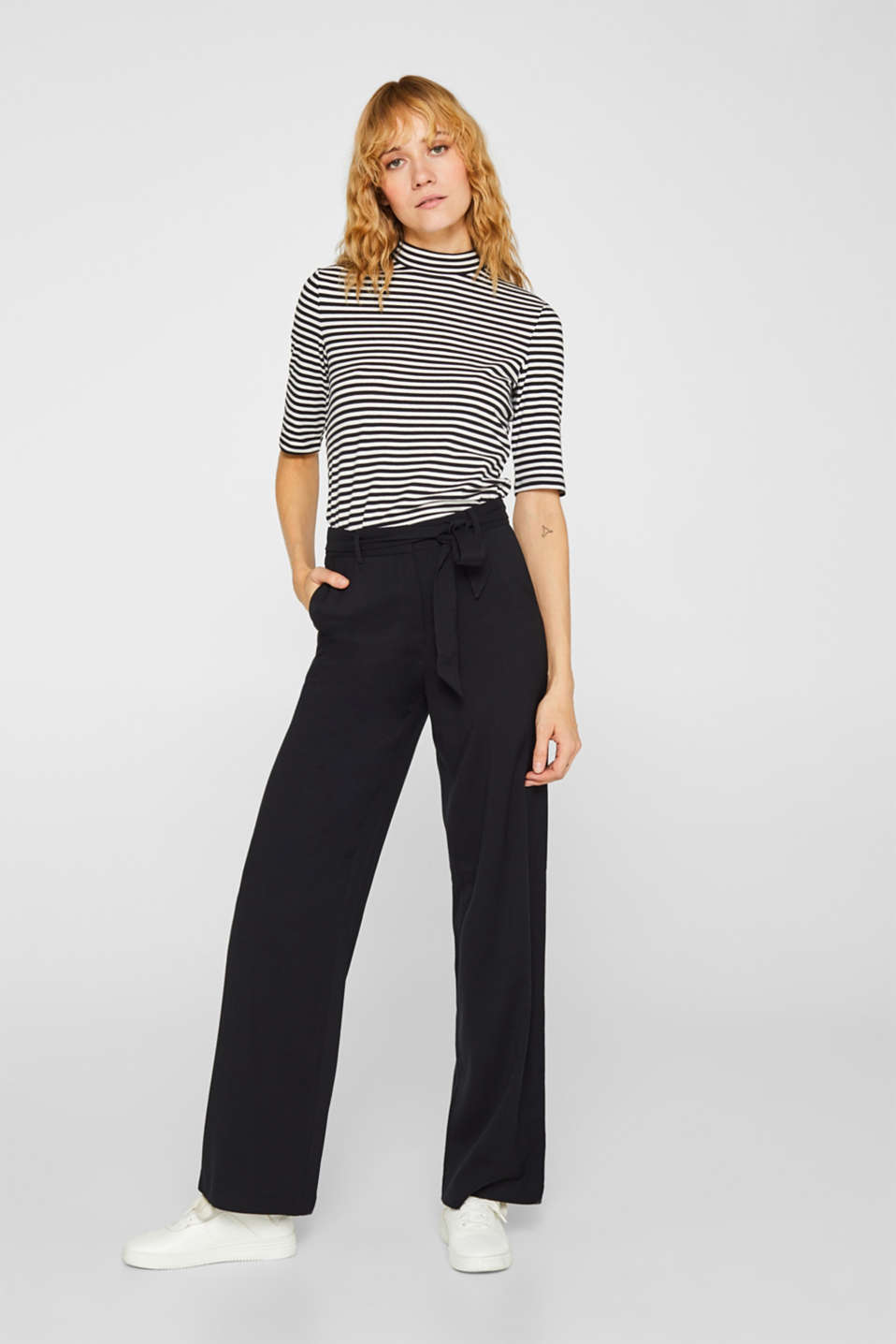 Wide-leg flannel trousers, BLACK, detail image number 1