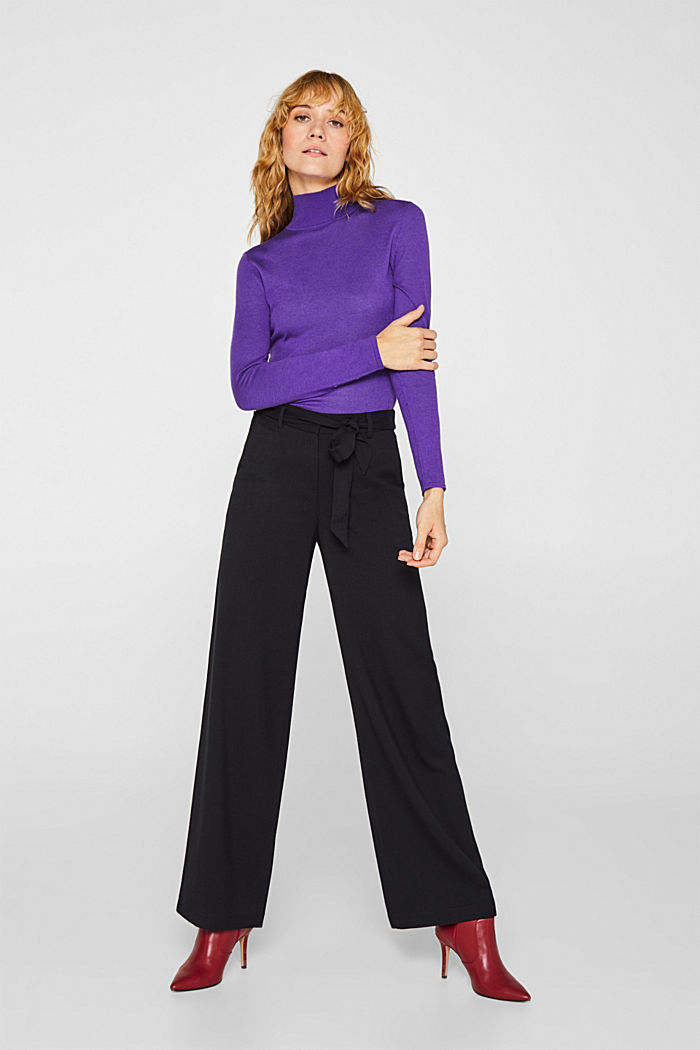 Wide-leg flannel trousers, BLACK, detail image number 7