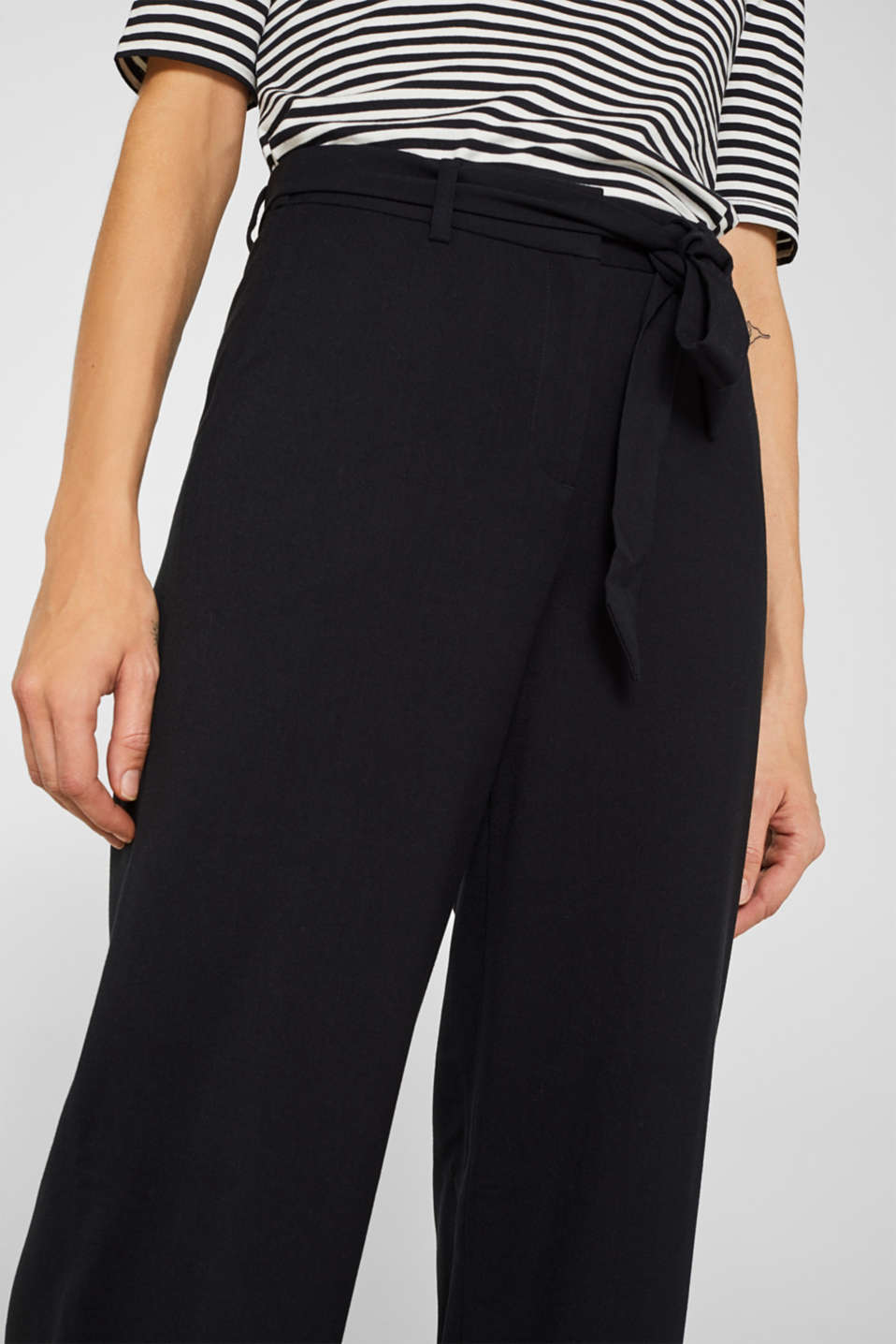 Wide-leg flannel trousers, BLACK, detail image number 2
