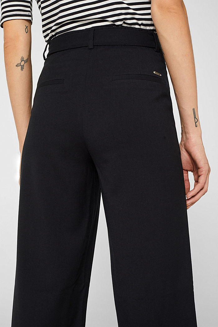 Wide-leg flannel trousers, BLACK, detail image number 6