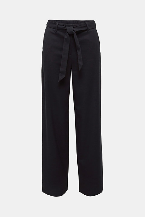 Wide-leg flannel trousers