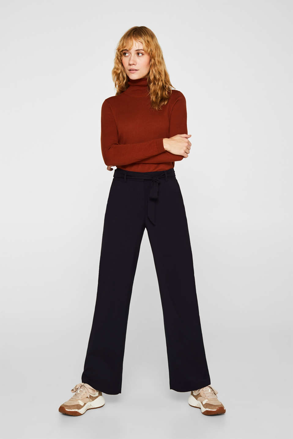 Wide-leg flannel trousers, NAVY, detail image number 0