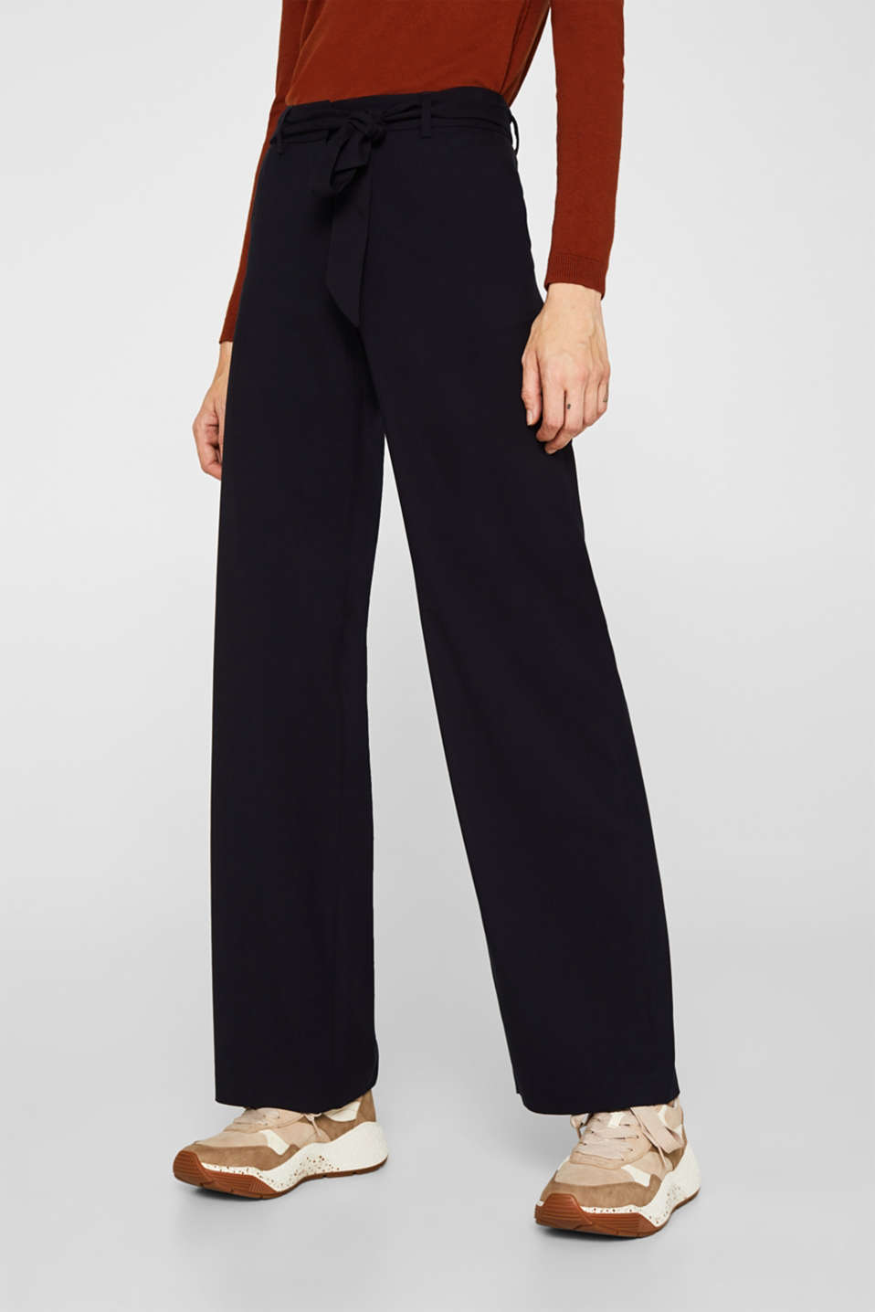 Wide-leg flannel trousers, NAVY, detail image number 5
