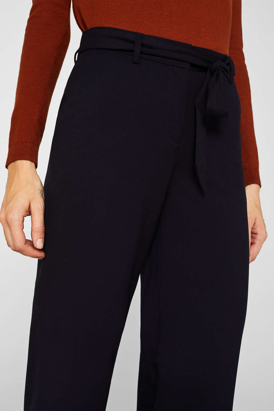 Wide-leg flannel trousers, NAVY, detail image number 2