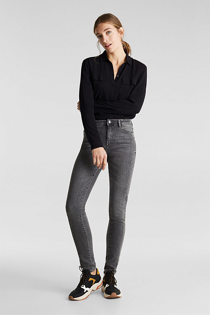 Stretch jeans with side trims, GREY MEDIUM WASHED, detail image number 0