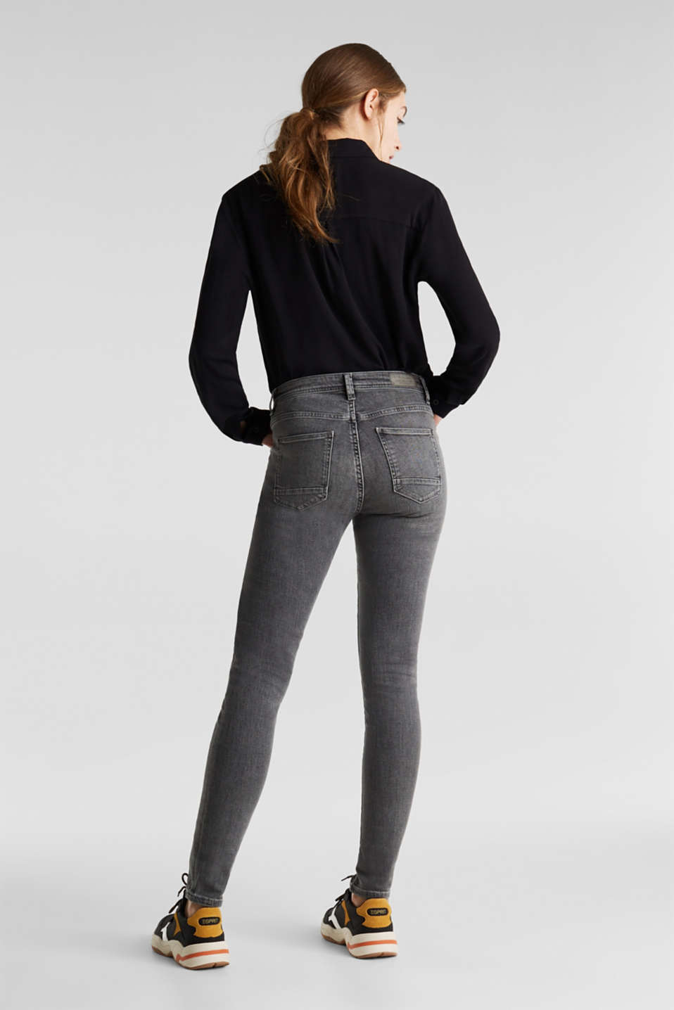 Stretch jeans with decorative seams