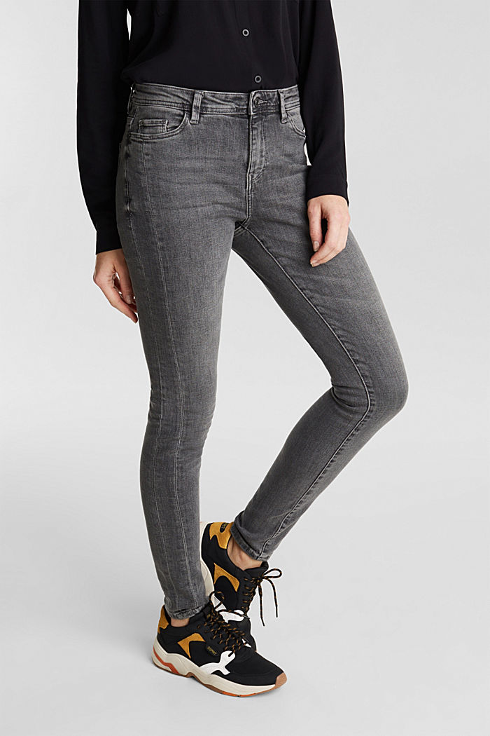 Stretch jeans with side trims, GREY MEDIUM WASHED, detail image number 6