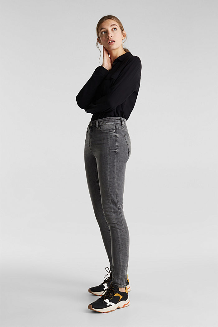 Stretch jeans with side trims, GREY MEDIUM WASHED, detail image number 1