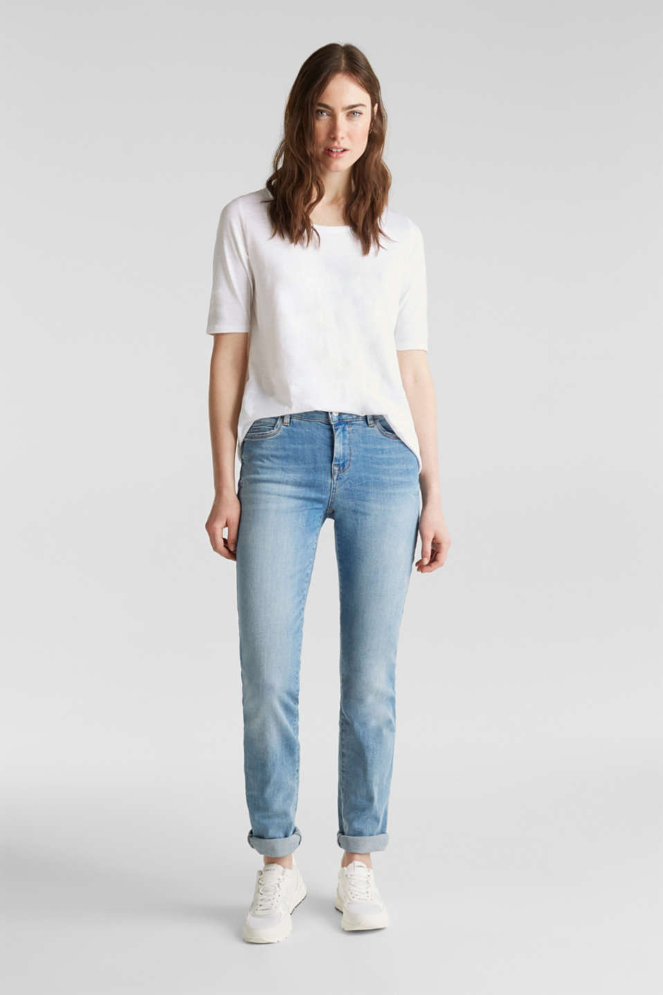 Super stretchy jeans in a pale garment wash, BLUE MEDIUM WASH, detail
