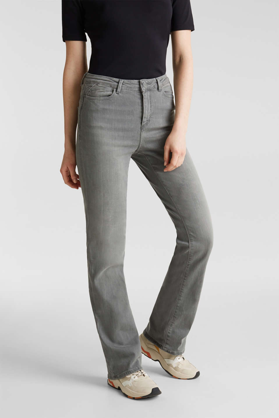 Bootcut jeans with a high waistband, GREY MEDIUM WASH, detail image number 6