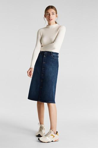 Button-fastening A-line denim skirt