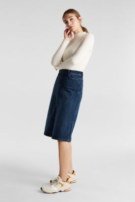 Button-fastening A-line denim skirt, BLUE MEDIUM WASH, detail