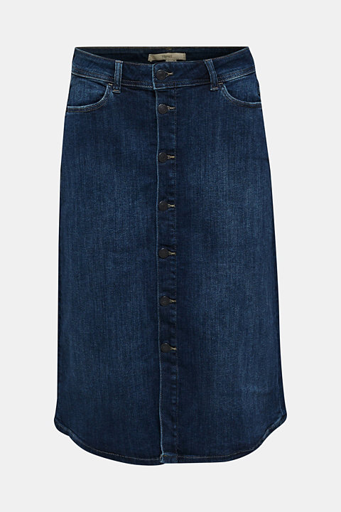 Button-fastening A-line denim skirt