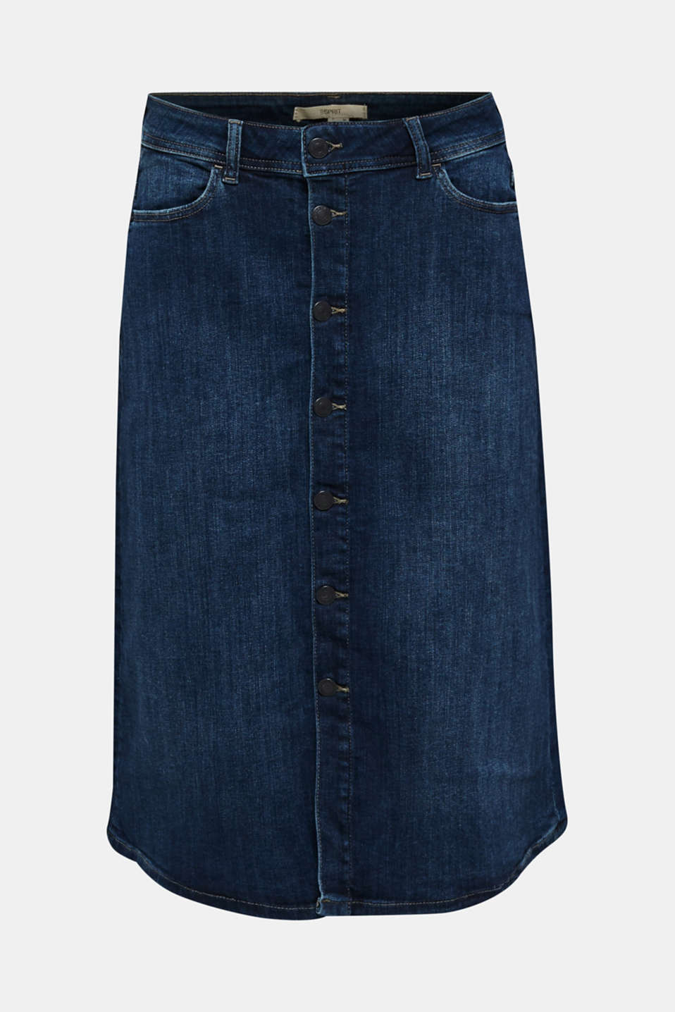 Button-fastening A-line denim skirt, BLUE MEDIUM WASH, detail image number 6
