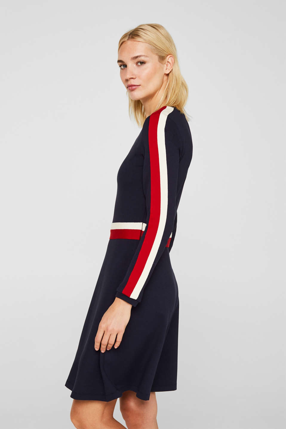 Esprit - Jersey stretch dress with racing stripes