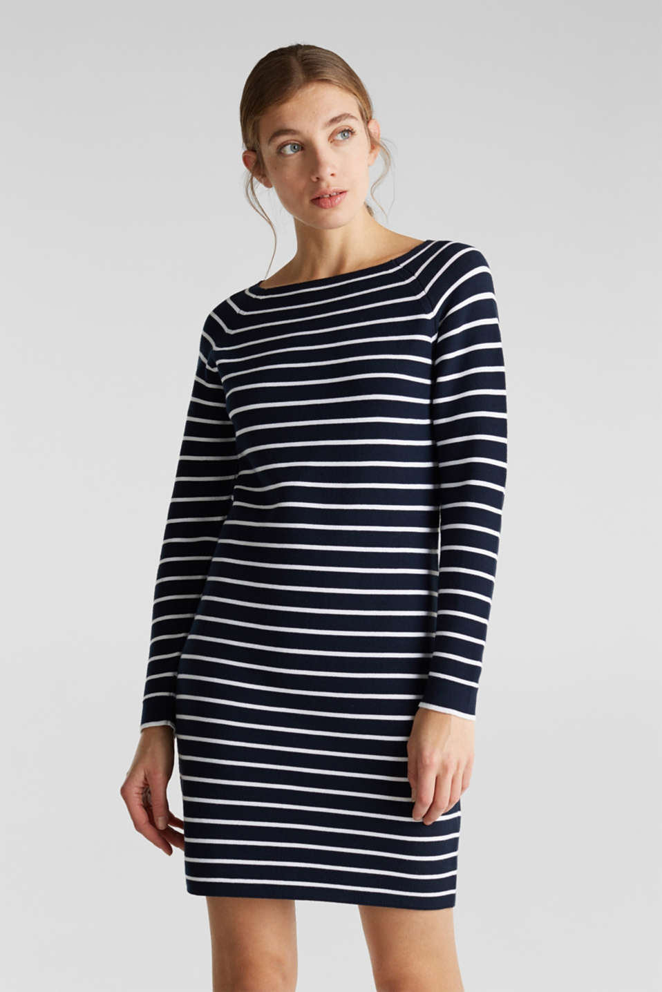 Esprit - Robe-pull à rayures, 100 % coton
