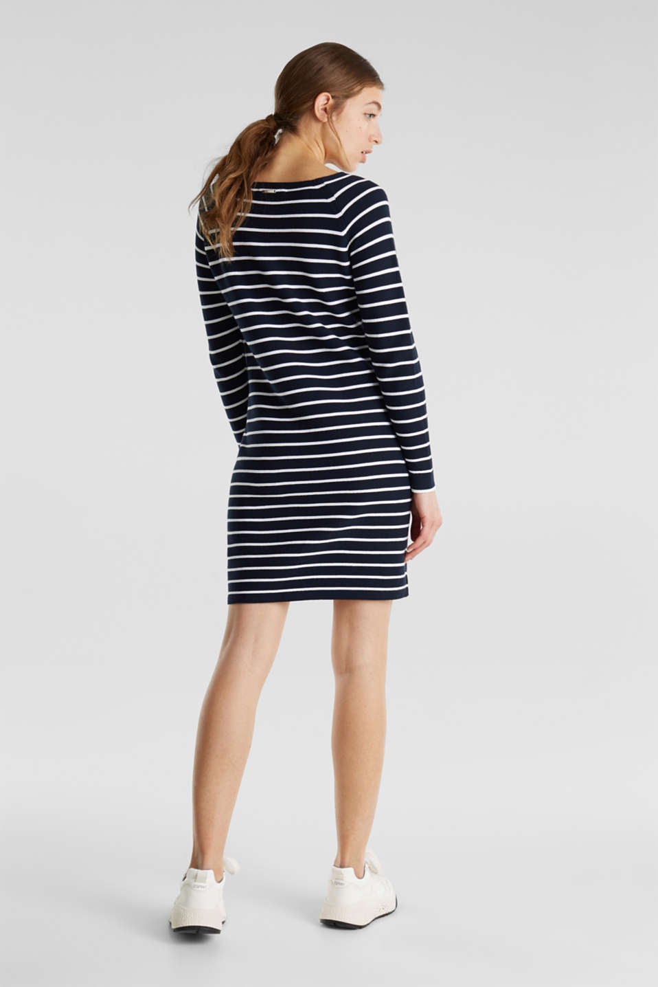 Knit dress with stripes, 100% cotton, NAVY 4, detail image number 2