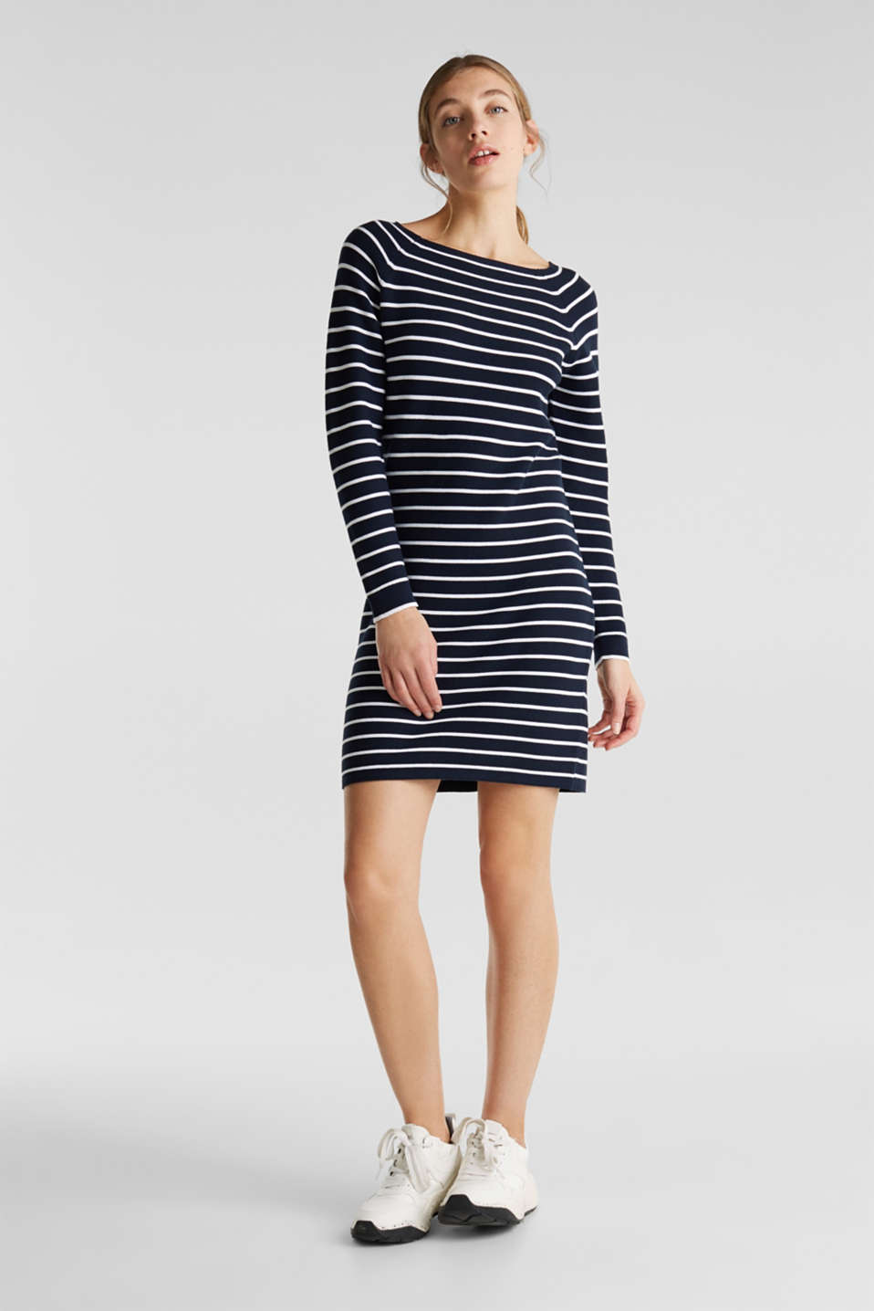 Knit dress with stripes, 100% cotton, NAVY 4, detail image number 1