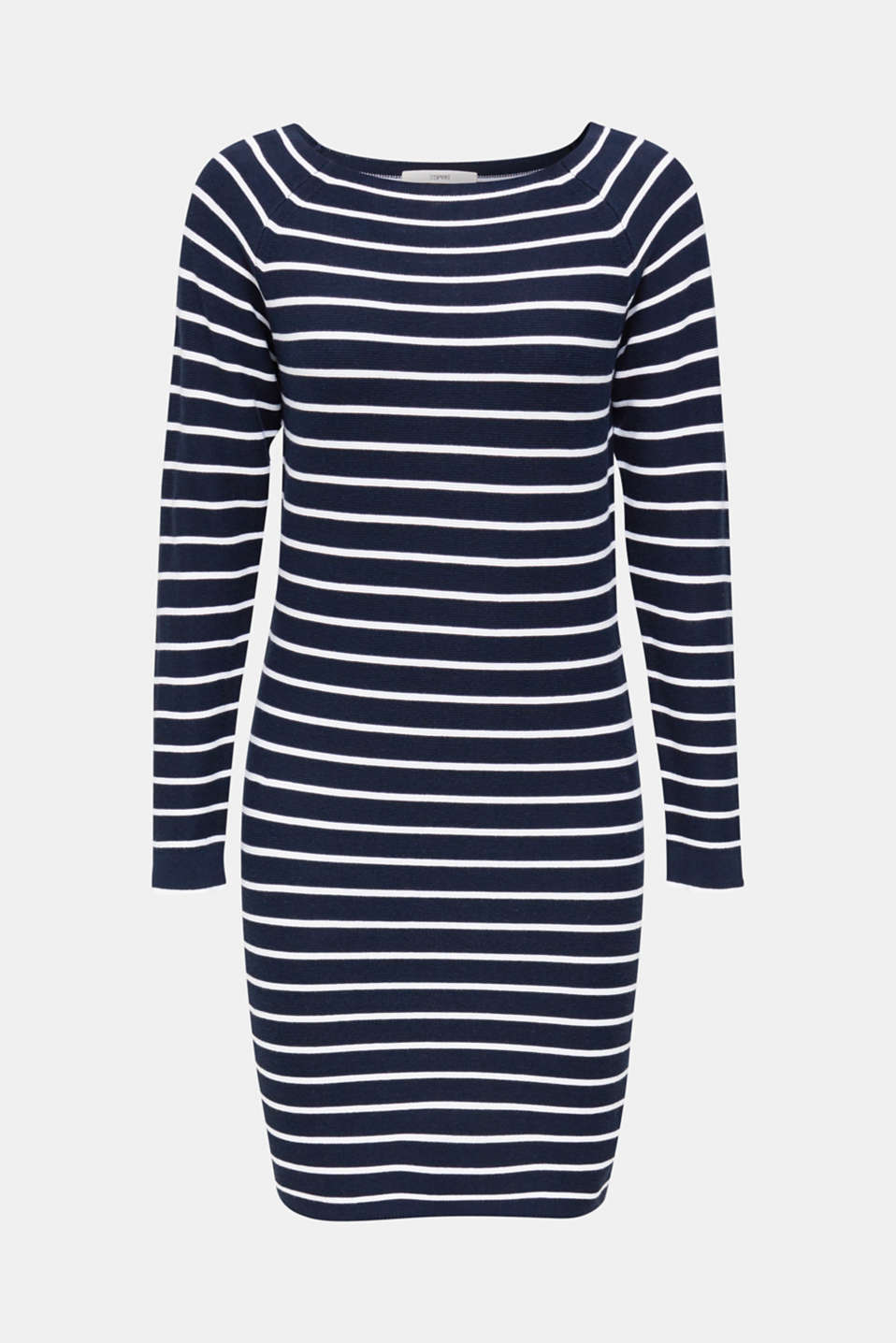 Knit dress with stripes, 100% cotton, NAVY 4, detail image number 6