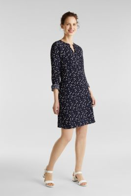 Shirt dress with a mille-fleurs print, NAVY, detail