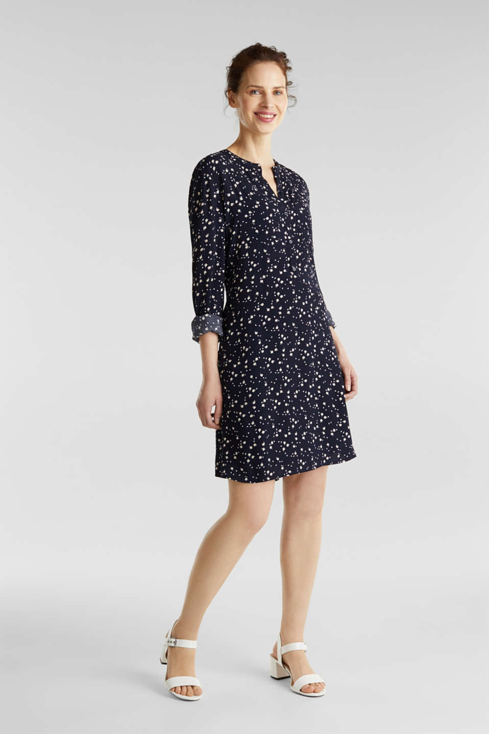 Shirt dress with a mille-fleurs print, NAVY, detail image number 0
