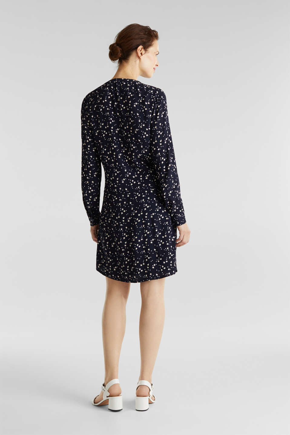 Shirt dress with a mille-fleurs print, NAVY, detail image number 1