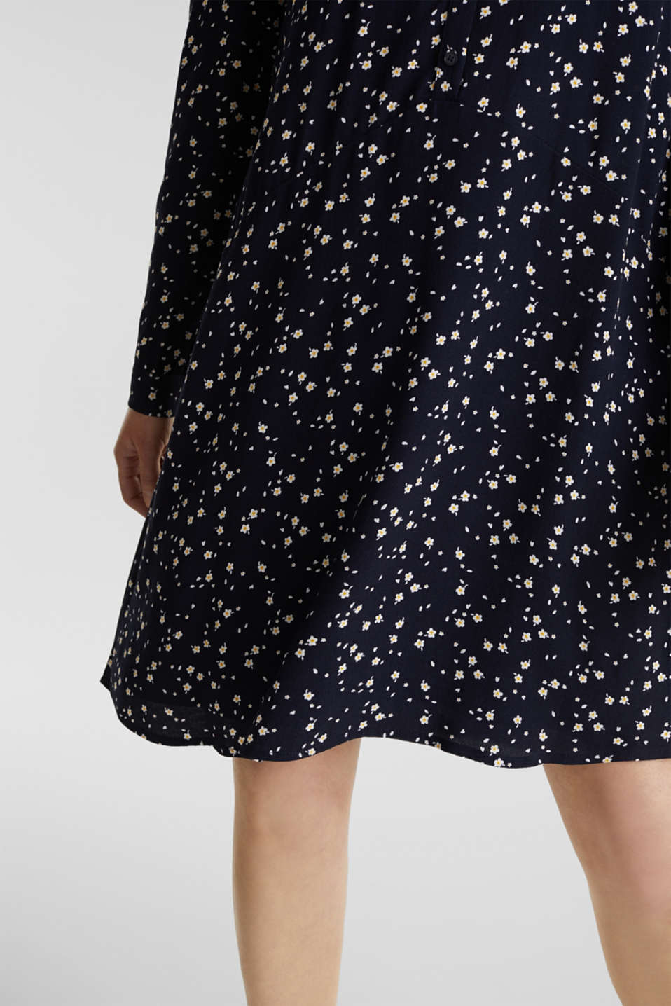 Shirt dress with a mille-fleurs print, NAVY, detail image number 2