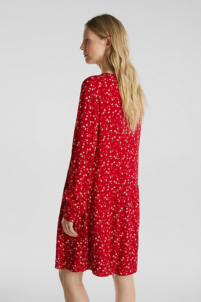 Shirt dress with a mille-fleurs print, RED, detail image number 0