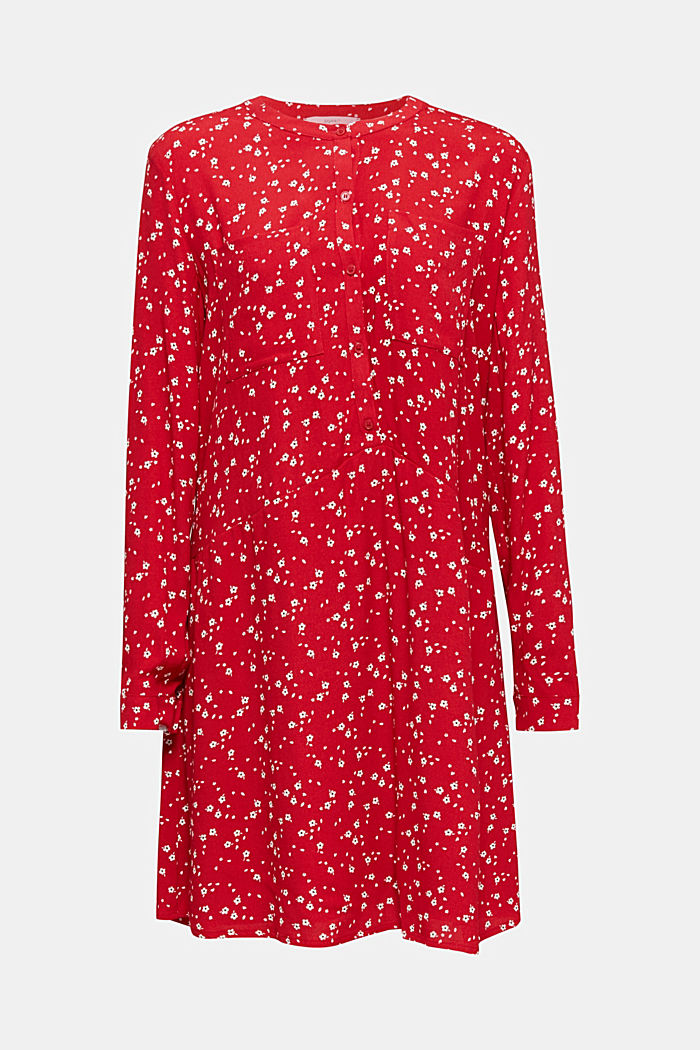 Shirt dress with a mille-fleurs print, RED, overview