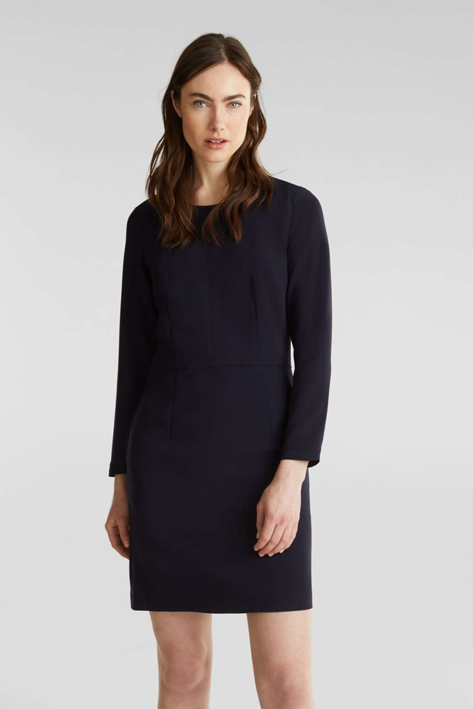 Esprit - Stretch dress with ribbed borders