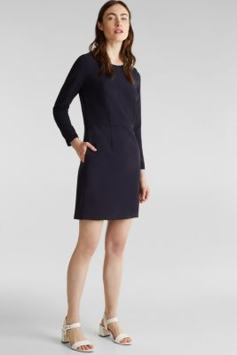 Stretch dress with ribbed borders, NAVY, detail