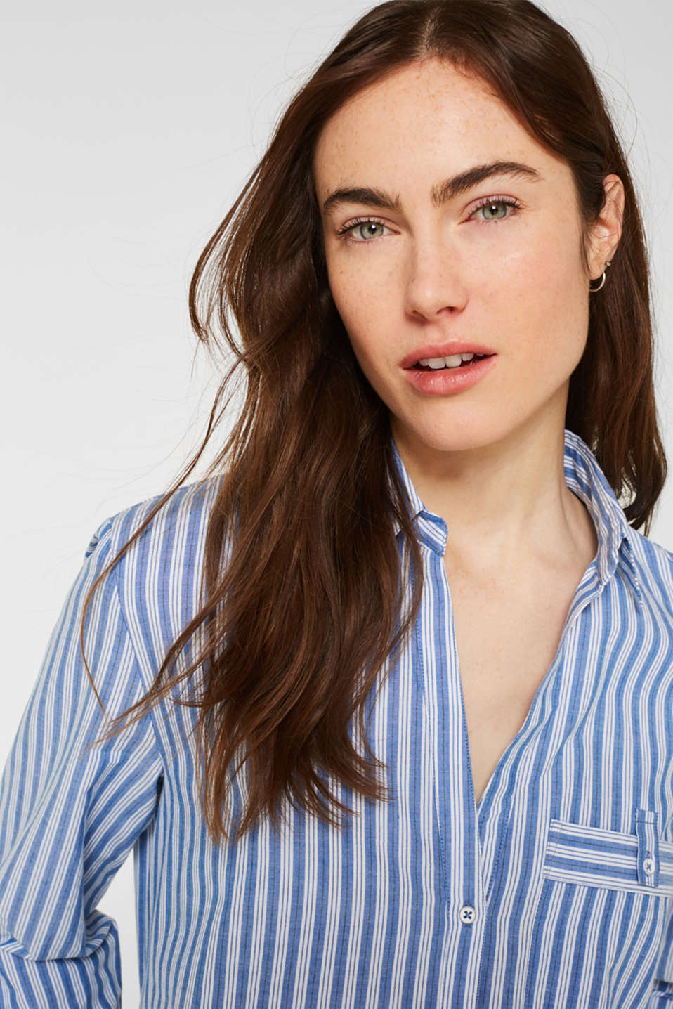 Blouse with stripes, 100% cotton