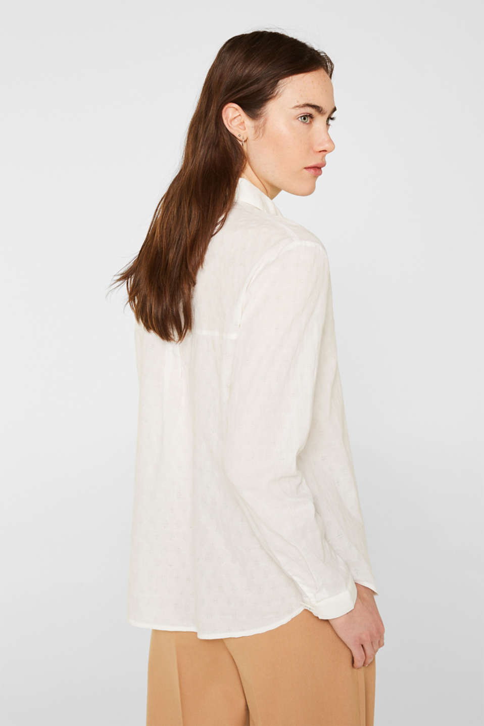 Blouse with a jacquard pattern, 100% cotton, OFF WHITE, detail image number 3