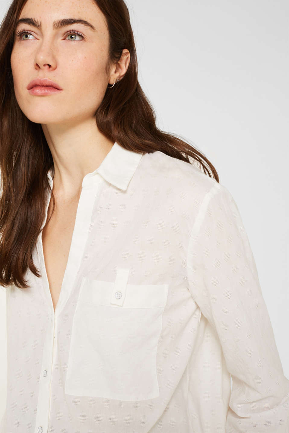 Blouse with a jacquard pattern, 100% cotton, OFF WHITE, detail image number 2