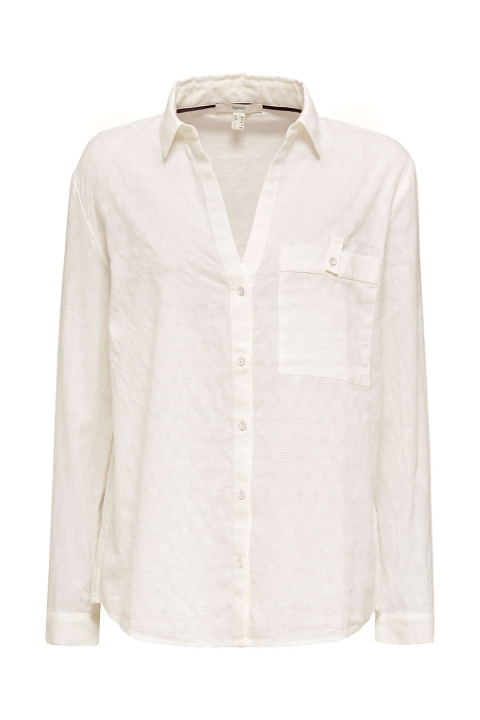 Blouse with a jacquard pattern, 100% cotton, OFF WHITE, detail image number 8