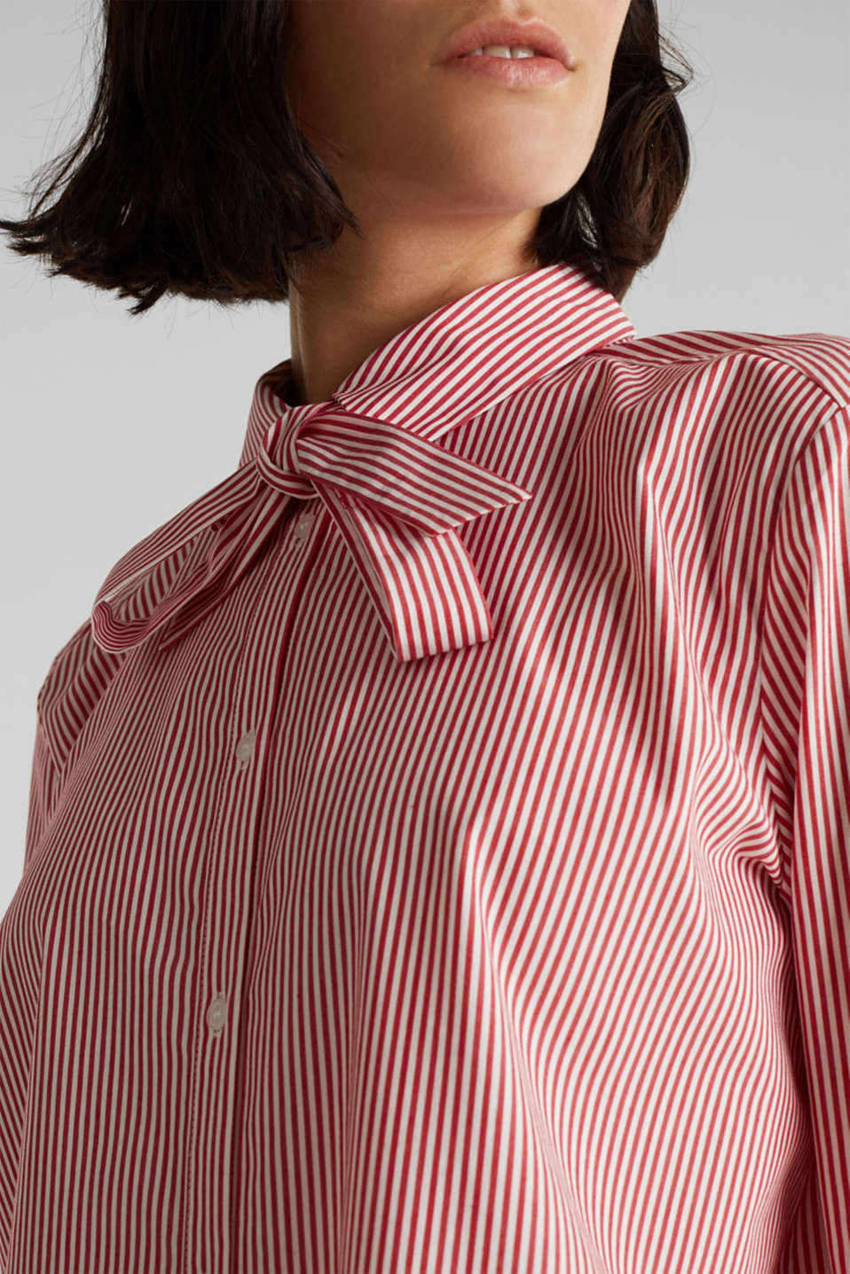Stretch blouse with a pussycat bow, RED, detail image number 2
