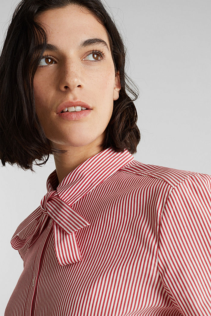 Stretch blouse with a pussycat bow, RED, detail image number 5