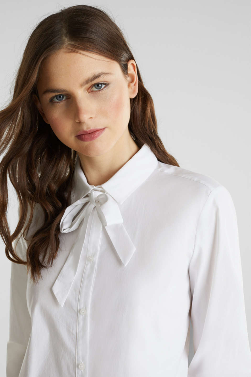 Stretch blouse with a pussycat bow, WHITE, detail image number 2
